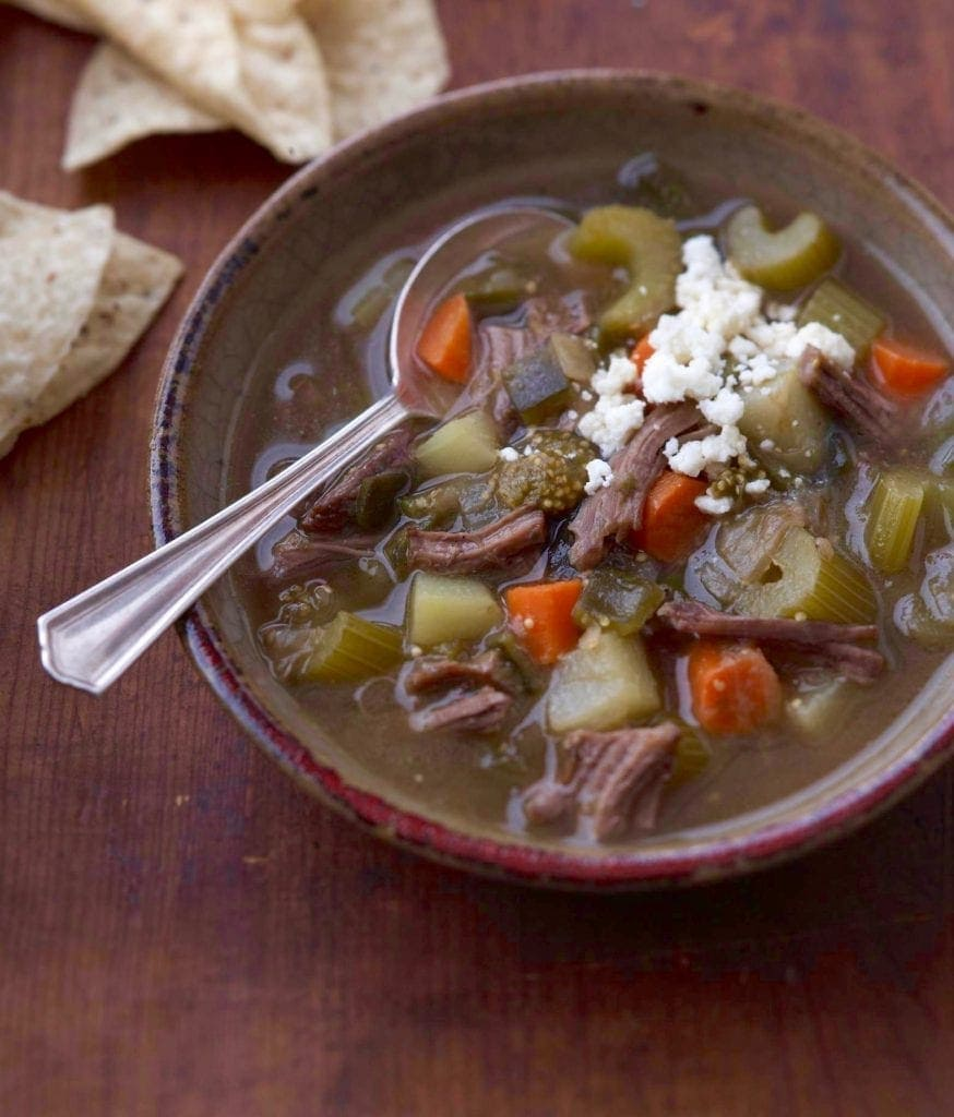 Mexican Tomatillo and Shredded Beef Soup has delicious authentic flavors