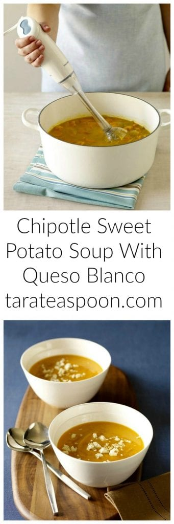 Pinterest image for Chipotle Sweet Potato Soup With Queso Blanco with text