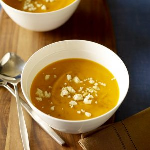 Two bowls of Chipotle Sweet Potato Soup with Queso Blanco
