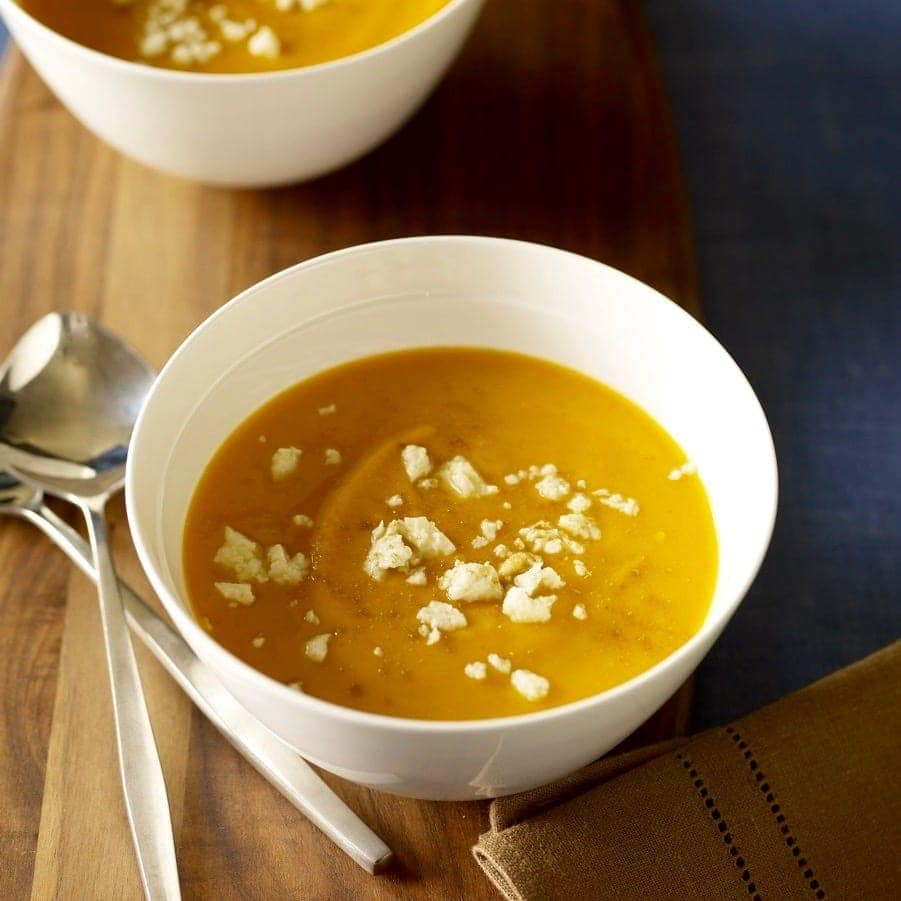 Chipotle Sweet Potato Soup with Queso Blanco is a sweet, spicy, savoy, delicious meal.