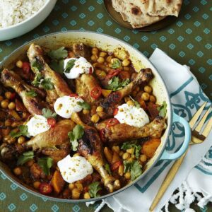 Chicken Curry Drumsticks with Chickpeas in round braiser