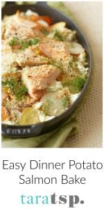 Pinterest image for Easy Dinner Potato Salmon Bake with text