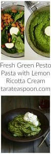 Pinterest image for Fresh Green Pesto Pasta with text