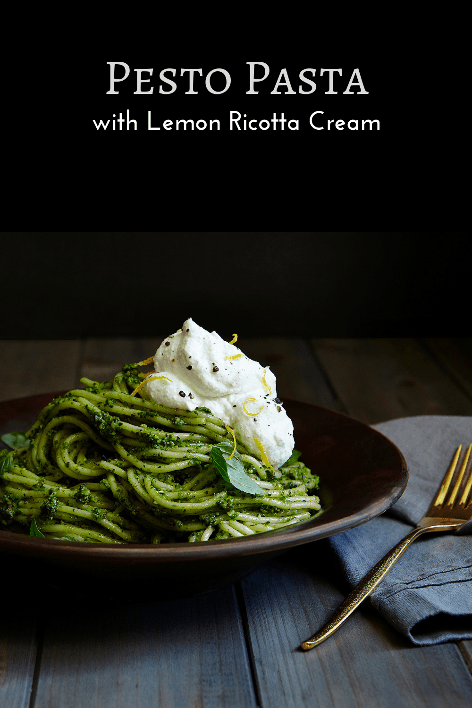 Pesto pasta with lemon ricotta cream pin