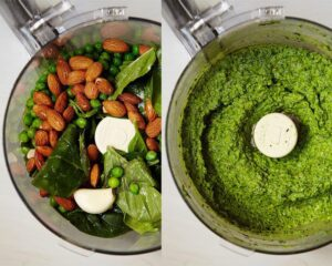 Fresh green pesto pasts in food processor bowl before and after