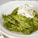 Spring pesto pasta with ricotta cream pin