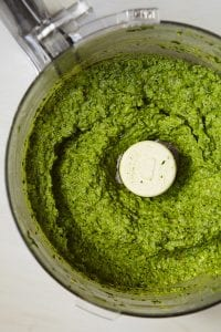 Winter pesto in food processor bowl