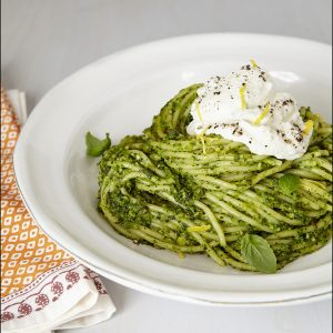 Winter pesto spaghetti with lemon ricotta