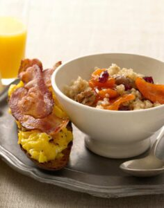 Cracked Wheat Cereal with Bacon and Egg Toasts is a beautiful and simple breakfast for a lovely morning