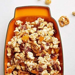 Popcorn crunch in orange platter