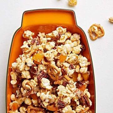 Family Fun Popcorn Crunch in orange bowl