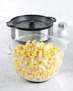 Popped popcorn in popcorn popper