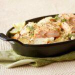 Potato Salmon Bake in cast iron pan