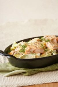 Potato Salmon Bake in cast iron pan