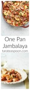 Pinterest image for One Pan Jambalaya with text
