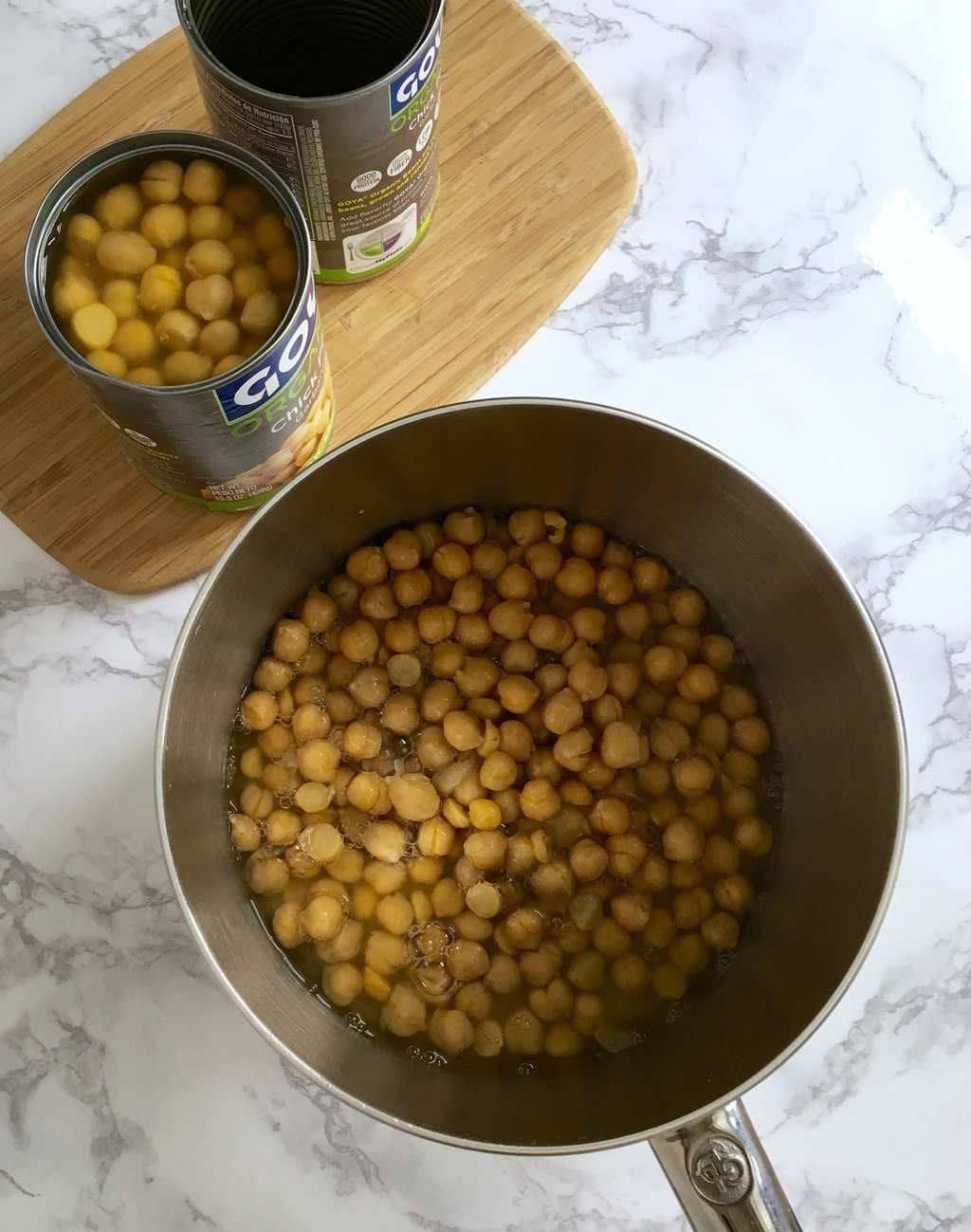 Chickpeas in pan from overhead