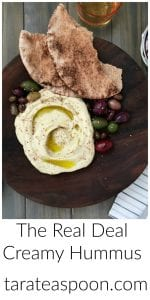 Pinterest image for The Real Deal Creamy Hummus with text