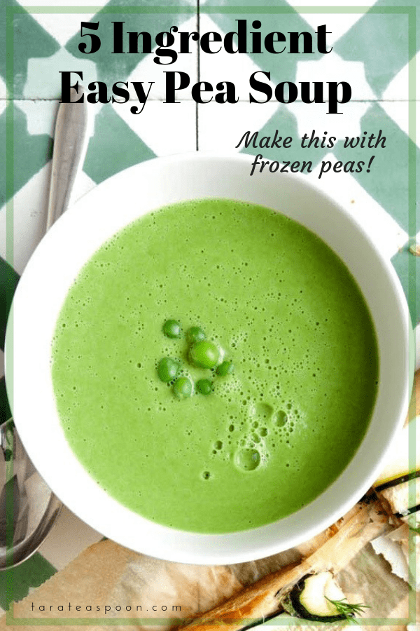5 ingredient pea soup in a bowl, made with frozen peas