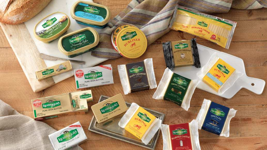 Various Kerrygold dairy products in the gift basket prize
