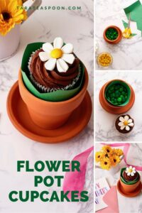 pinterest pin for flower pot cupcakes with marshmallows