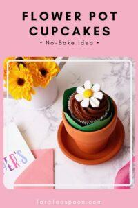 pinterest pin for flower pot cupcakes