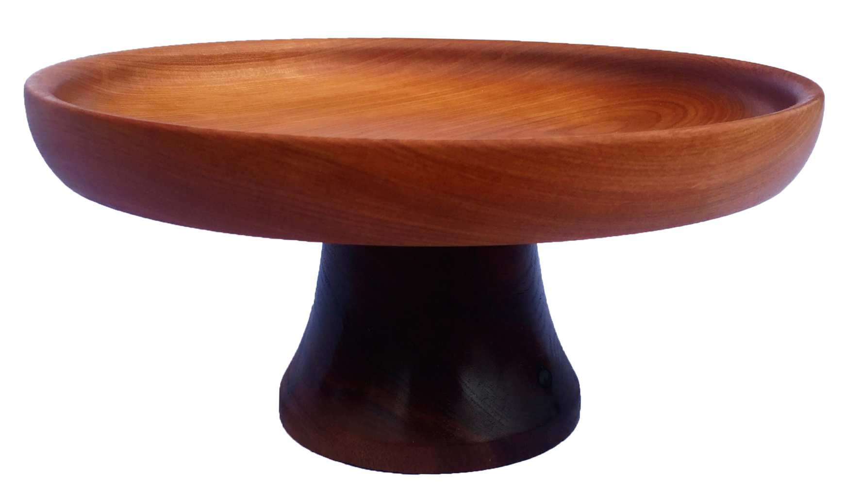 cherry wood and walnut cake stand