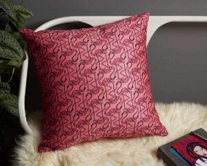 Pink Flamingo Pillow on chair