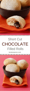 Pinterest image for Chocolate Filled Rolls with text