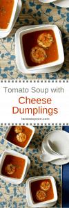 Pinterest image for Tomato Soup with Cheese Dumplings with text