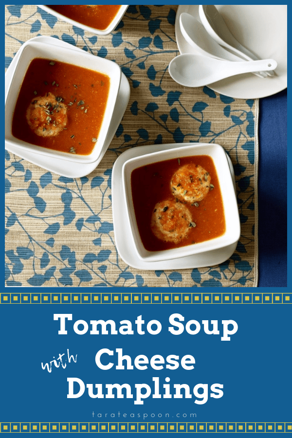 Tomato soup with cheese dumplings pin image