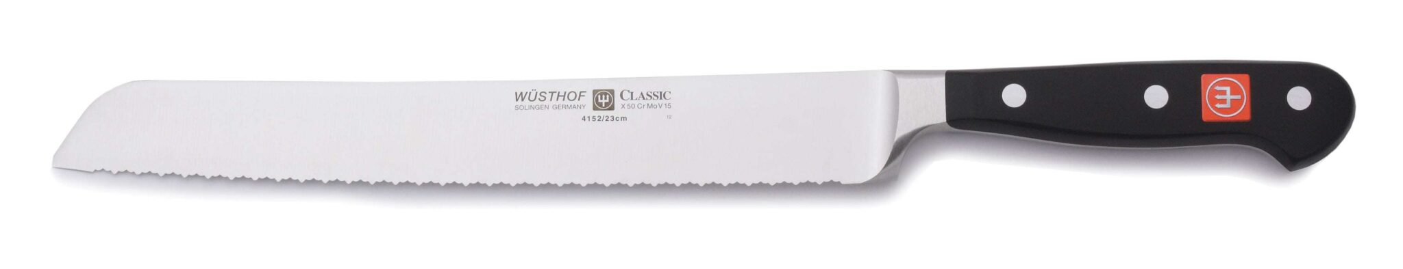 Wusthof double serrated knife on white background