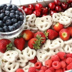 4th of July fresh red and blue berries with white chocolate dipped pretzels
