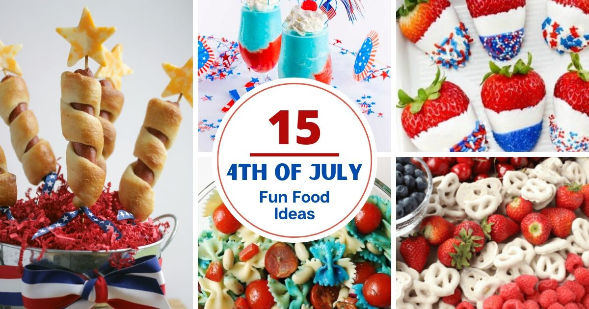 collage of red white and blue food for 4th of july