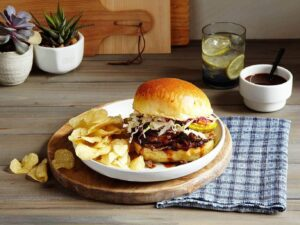 Slow Cooker Brisket Sandwich with sauce Tara Teaspoon