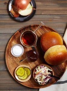 Slow Cooker Brisket Sandwich ingredients on wood Tara Teaspoon