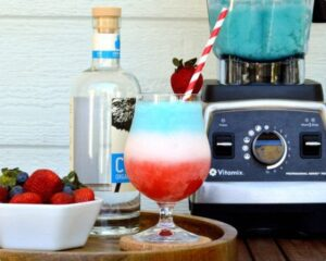 Layered red, white and blue strawberry colada