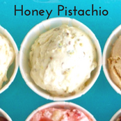 Easy homemade ice cream Honey Pistachio flavor with a vanilla base. No churn required just use a KitchenAid.