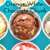 Easy homemade ice cream Orange White-Chocolate Chunk flavor with a chocolate base. No churn required just use a KitchenAid.