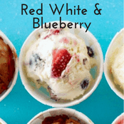Easy homemade ice cream Red White and Bluberry flavor with a vanilla base. No churn required just use a KitchenAid.