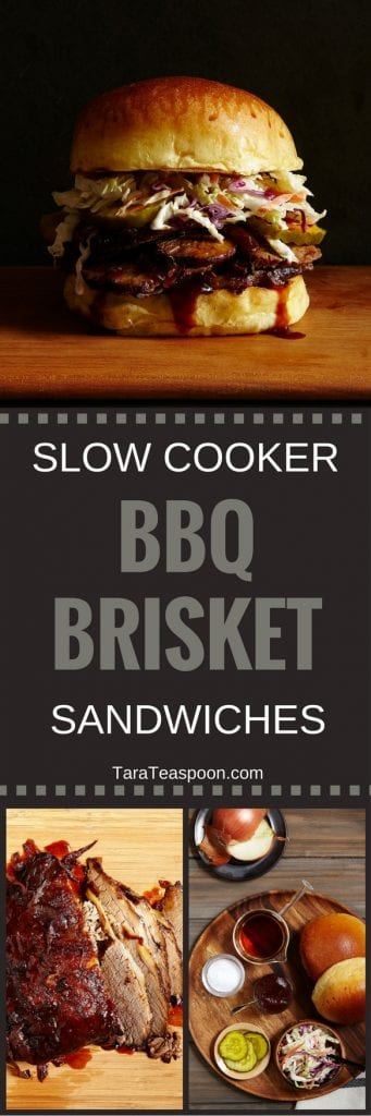 Pinterest image for Slow Cooker Brisket Sandwiches with text