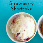 Easy homemade ice cream Strawberry Shortcake flavor with a vanilla base. No churn required just use a KitchenAid.
