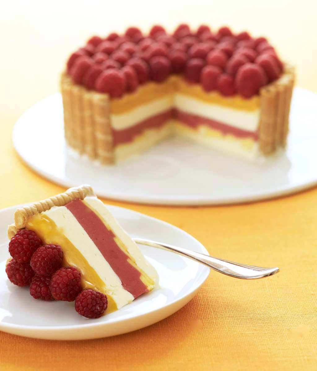 Tara Teaspoon layered icebox dessert with raspberries and mangos