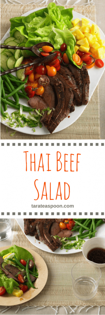 Pinterest image for Thai Beef Salad with text