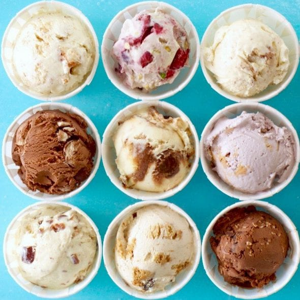 24 easy homemade ice cream flavors with a chocolate and vanilla bases. No churn required just use a KitchenAid.