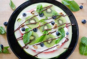 Watermelon pizza recipe image with kiwi