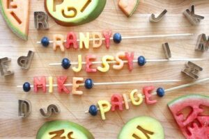 Watermelon name skewers recipe image