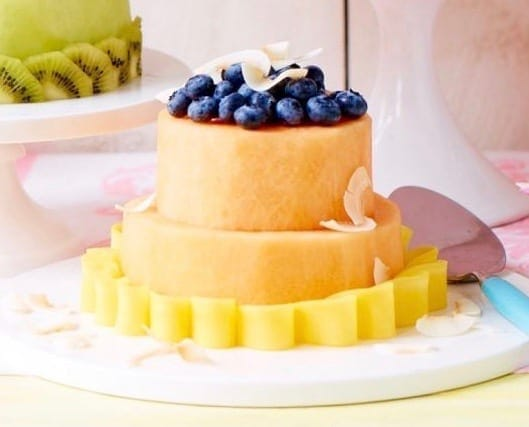 A fresh melon cake made from two layers of cantaloupe.
