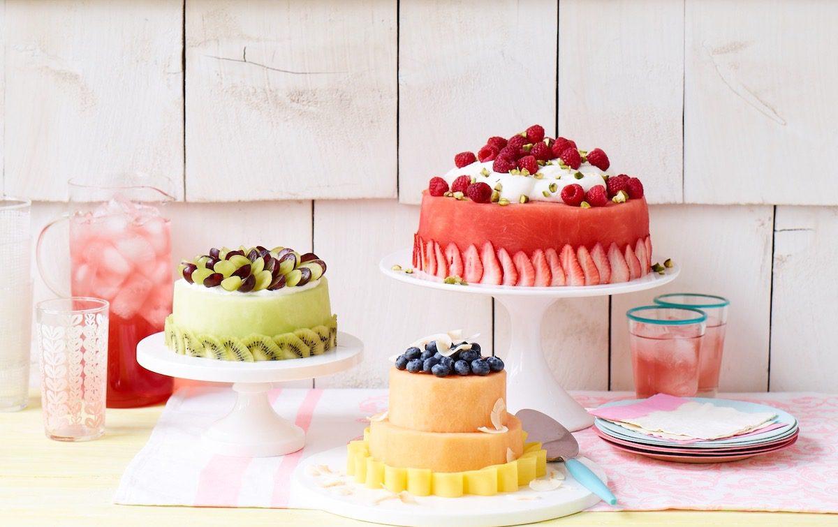 fresh fruit cakes on platters
