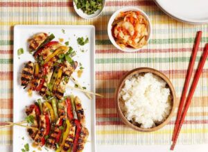 Korean BBQ Chicken Skewers with veggies and a simple marinade