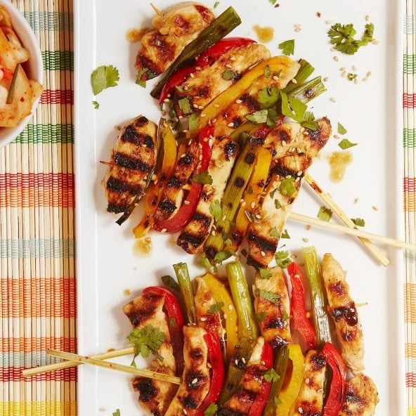 grilled Korean BBQ Chicken Skewers on serving plate